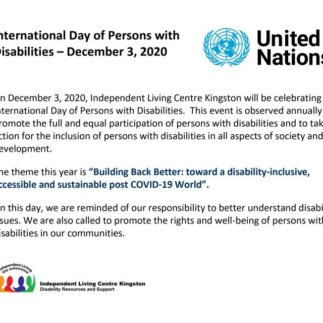 International Day of Persons with Disabilities – December 3, 2020